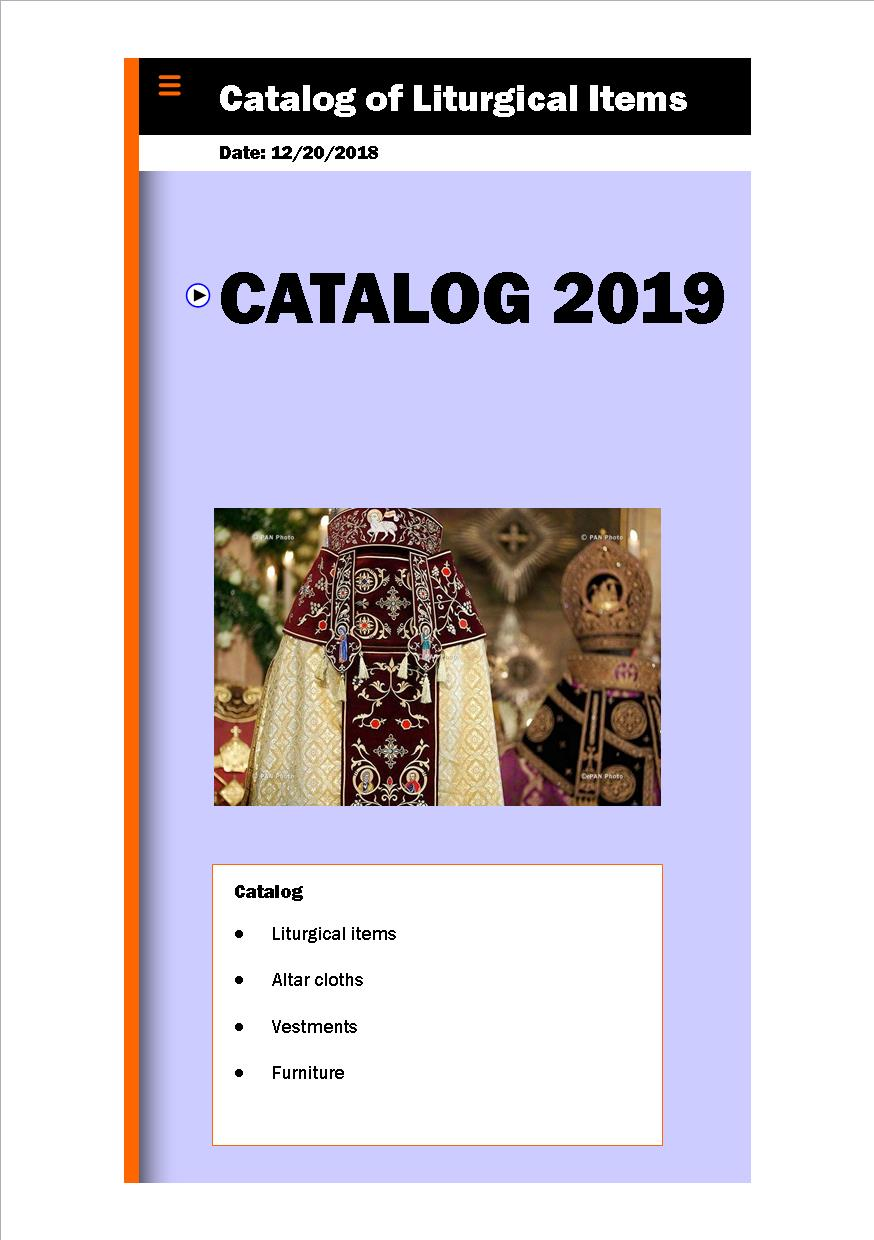 Catalog Liturgical Items with prices 2019 First page
