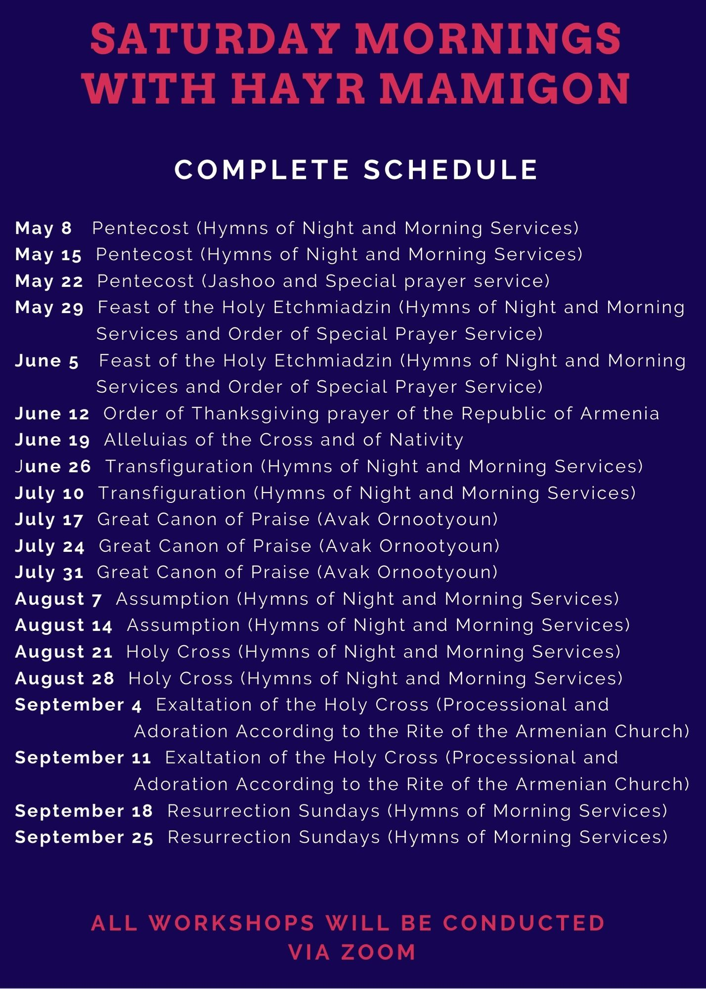 Saturdays with HM complete schedule